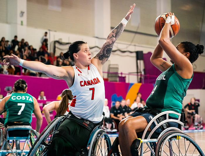 Cindy Ouellet, Lima 2019 - Wheelchair Basketball // Basketball en fauteuil roulant.<br /> Women's wheelchair basketball competes against Brazil // Le basketball en fauteuil roulant féminin contre Brésil. 29/08/2019.