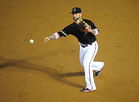 May 13, 2012; Phoenix, AZ, USA; Arizona Diamondbacks second baseman Ryan Roberts throws to first for an out in the third inning against the San Francisco Giants at Chase Field. Mandatory Credit: Mark J. Rebilas-