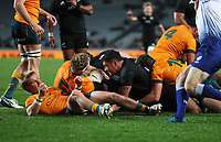 Action from the Bledisloe Cup rugby match between the New Zealand All Blacks and Australia Wallabies at Eden Park in Auckland, New Zealand on Saturday, 14 August 2021. Photo: Simon Watts / lintottphoto.co.nz / bwmedia.co.nz