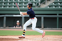 Riverside High grad Caden Grice (16), of the Greer Warhawks, a Clemson commit, bats in a South Carolina American League game against the Simpsonville Dawgs on Tuesday, August 11, 2020, at Fluor Field at the West End in Greenville, South Carolina. Greer won, 9-2, winning the second round of playoffs. (Tom Priddy/Four Seam Images)