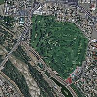 aerial photograph of Albuquerque Country Club and the Rio Grande, Albuquerque, New Mexico