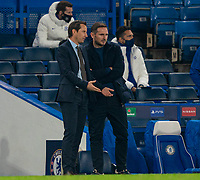 4th November 2020, Stamford Bridge, London, England;  Rennes head coach Julien Stephan speaks with Chelseas manager Frank Lampard after his player was sent off for a second yellow card during the UEFA Champions League Group E match between Chelsea and Rennes at Stamford Bridge