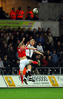 ATTENTION SPORTS PICTURE DESK<br /> Pictured: Alan Tate of Swansea City in action <br /> Re: Coca Cola Championship, Swansea City Football Club v Nottingham Forest at the Liberty Stadium, Swansea, south Wales. Saturday 12 December 2009