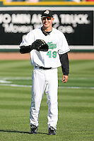 June 16th 2008:  Derek Holland of the Clinton Lumberkings, Class-A affiliate of the Texas Rangers, during the Midwest League All-Star Home Run Derby at Dow Diamond in Midland, MI.  Photo by:  Mike Janes/Four Seam Images