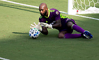 LOS ANGELES, CA - AUGUST 22: Kenneth Vermeer #1 GK of LAFC makes a save during a game between Los Angeles Galaxy and Los Angeles FC at Banc of California Stadium on August 22, 2020 in Los Angeles, California.