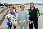 Enjoying the afternoon in Ballyheigue on Sunday, l to r: Josephine Leahy, Eileen O'Connell and DJ Leahy with Sandy the dog.