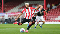 Said Benrahma scores Brentford's opening goal from the penalty spot during Brentford vs Charlton Athletic, Sky Bet EFL Championship Football at Griffin Park on 7th July 2020