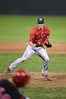 Williamsport Crosscutters pitcher Bryan Sova (4) delivers a pitch during a game against the Batavia Muckdogs on August 26, 2014 at Dwyer Stadium in Batavia, New York.  Williamsport defeated Batavia 8-1.  (Mike Janes/Four Seam Images)