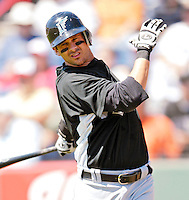 18 March 2007: Florida Marlins third baseman Aaron Boone takes a warm-up swing in the on deck circle against the Washington Nationals at Space Coast Stadium in Viera, Florida...Mandatory Photo Credit: Ed Wolfstein Photo