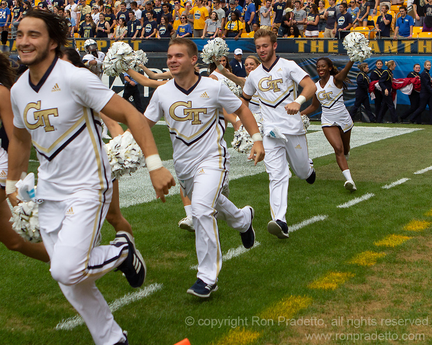 The Georgia Tech Yellow Jackets cheerleaders. The Pitt Panthers football team defeated the Georgia Tech Yellow Jackets 24-19 on September 15, 2018 at Heinz Field in Pittsburgh, Pennsylvania.