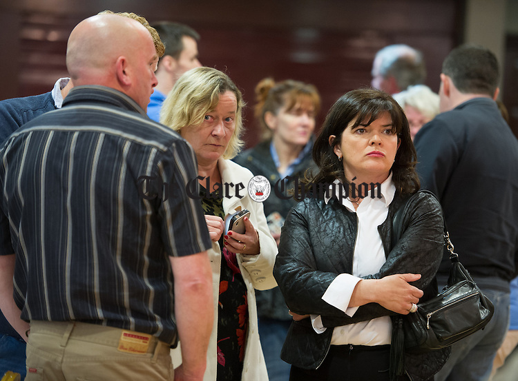 Clare Colleran Molloy watching events unfold during the election count at The West county Hotel, Ennis. Photograph by John Kelly.