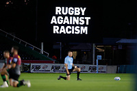 9th September 2020; Twickenham Stoop, London, England; Gallagher Premiership Rugby, London Irish versus Harlequins; London Irish and Harlequins kneels for Rugby Against Racism