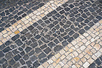Mosaic tile work on the streets of Ponta Delgada, Sao Miguel, Azores, Portugal June 2019.