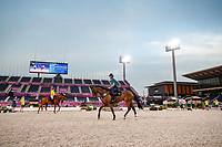 AUs-Shane Rose and Andrew Hoy: The Australian Equestrian Team - Eventing, do their evening familiarisations prior to competition at the Equestrian Park. Tokyo 2020 Olympic Games. Monday 26 July 2021. Copyright Photo: Libby Law Photography