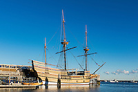 Mayflower II is a replica of the 17th-century ship Mayflower, celebrated for transporting the Pilgrims to the New World, Plymouth, Massachusetts, USA.