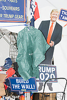 Trump memorabilia and souvenirs were for sale in a vendor's kiosk on the day of New Hampshire Presidential Primary voting in Manchester, New Hampshire, on Tue., Feb. 11, 2020.