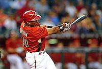 Apr. 2, 2010; Phoenix, AZ, USA; Arizona Diamondbacks outfielder Justin Upton bats against the Chicago Cubs at Chase Field. Mandatory Credit: Mark J. Rebilas-