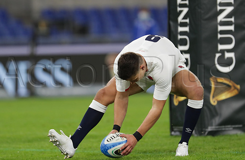31st October 2020, Olimpico Stadium, Rome, Italy; Six Nations International Rugby Union, Italy versus England;  Ben Youngs (England) touches down for one of his 2 tries