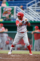 Williamsport Crosscutters designated hitter Brayan Gonzalez (2) at bat during a game against the Batavia Muckdogs on June 22, 2018 at Dwyer Stadium in Batavia, New York.  Williamsport defeated Batavia 9-7.  (Mike Janes/Four Seam Images)