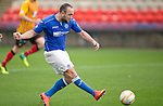 Partick Thistle v St Johnstone....25.10.14   SPFL<br /> Lee Croft is through on goal only to see keeper Scott Fox push his shot wide<br /> Picture by Graeme Hart.<br /> Copyright Perthshire Picture Agency<br /> Tel: 01738 623350  Mobile: 07990 594431