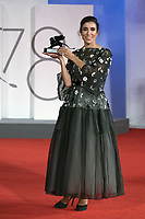 """Blanca Li poses with the Best VR Experience Award for """"Le Bal De Paris De Blanca Li"""" during the Winners Red Carpet as part of the 78th Venice International Film Festival in Venice, Italy on September 11, 2021. <br /> CAP/MPI/IS/PAC<br /> ©PAP/IS/MPI/Capital Pictures"""