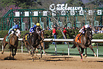 HOT SPRINGS, AR - March 18: Streamline #7 and jockey Chris Landeros run down the stretch on their way to winning the Azeri Stakes at Oaklawn Park on March 18, 2017 in Hot Springs, AR. (Photo by Ciara Bowen/Eclipse Sportswire/Getty Images)