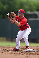 GCL Phillies second baseman Tim Zier (25) waits for a throw during a game against the GCL Pirates on June 26, 2014 at the Carpenter Complex in Clearwater, Florida.  GCL Phillies defeated the GCL Pirates 6-2.  (Mike Janes/Four Seam Images)