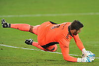 WASHINGTON, DC - SEPTEMBER 12: Chris Seitz #1 of D.C. United saves a shot on goal during a game between New York Red Bulls and D.C. United at Audi Field on September 12, 2020 in Washington, DC.