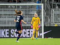 ORLANDO, FL - FEBRUARY 24: Jane Campbell #18 of the USWNT holds the ball during a game between Argentina and USWNT at Exploria Stadium on February 24, 2021 in Orlando, Florida.
