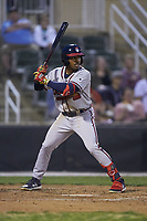 Justin Dean (5) of the Rome Braves at bat against the Kannapolis Intimidators at Kannapolis Intimidators Stadium on April 4, 2019 in Kannapolis, North Carolina.  The Braves defeated the Intimidators 9-1. (Brian Westerholt/Four Seam Images)
