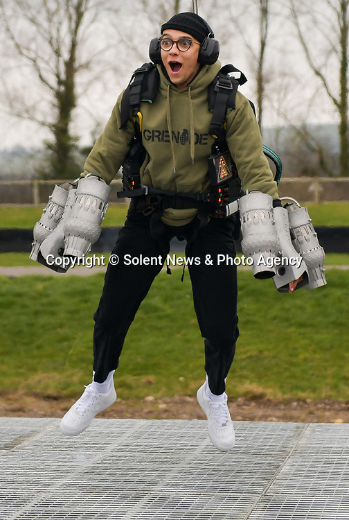 """Pictured: Member of dance troupe Diversity, Perri Kiely testing out the Gravity jet suit at Goodwood Aerodrome. <br /> <br /> Dance troupe Diversity, known for flying through the air in their stage performances, today took to the air outside - with jetpacks strapped to their hands.  Diversity members including founder Ashley Banjo, Jordan Banjo and Perri Kiely, donned Gravity Industries' cutting edge human-flight suit and took to the skies powered by Grenade Energy.<br /> <br /> Ashley, 32, said: """"Ahead of the day we were certain Pel would smash it, he's annoyingly very good at pretty much everything he puts his energy into.  SEE OUR COPY FOR DETAILS.<br /> <br /> © Solent News & Photo Agency<br /> UK +44 (0) 2380 458800"""