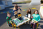Pupils from Filemore NS were busy over lockdown pictured here l-r; Callum Wynton(Lego model of school), twins Muireann & Clodagh O'Sullivan with their doll's Houses, Principal Norah Golden, poet Yasmin Kelly & candle maker Sorcha O'Sullivan.
