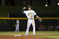 Mesa Solar Sox shortstop Eli White (21), of the Oakland Athletics organization, during an Arizona Fall League game against the Scottsdale Scorpions at Sloan Park on October 10, 2018 in Mesa, Arizona. Scottsdale defeated Mesa 10-3. (Zachary Lucy/Four Seam Images)