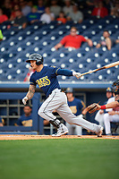 New Orleans Baby Cakes center fielder Brandon Barnes (2) follows through on a swing during a game against the Nashville Sounds on April 30, 2017 at First Tennessee Park in Nashville, Tennessee.  The game was postponed due to inclement weather in the fourth inning.  (Mike Janes/Four Seam Images)