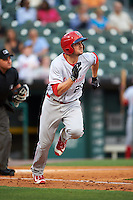 Louisville Bats first baseman Jordan Pacheco (20) runs to first during a game against the Buffalo Bisons on June 20, 2016 at Coca-Cola Field in Buffalo, New York.  Louisville defeated Buffalo 4-1.  (Mike Janes/Four Seam Images)