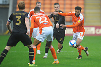 Blackpool's Grant Ward vies for possession with Milton Keynes Dons' Daniel Harvie<br /> <br /> Photographer Kevin Barnes/CameraSport<br /> <br /> The EFL Sky Bet League One - Blackpool v Milton Keynes Dons - Saturday 24 October 2020 - Bloomfield Road - Blackpool<br /> <br /> World Copyright © 2020 CameraSport. All rights reserved. 43 Linden Ave. Countesthorpe. Leicester. England. LE8 5PG - Tel: +44 (0) 116 277 4147 - admin@camerasport.com - www.camerasport.com