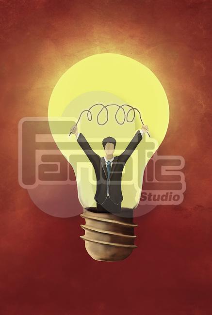 Illustrative image of male representation holding filament in glowing light bulb representing business idea
