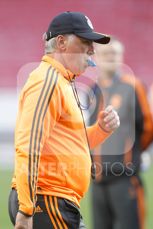 Real Madrid's coach Carlo Ancelotti during training session previous to the UEFA Champions League 2013/2014 Final match.May 23,2014. (ALTERPHOTOS/Acero)