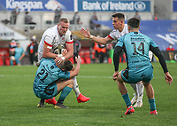 Sunday 25th October 2020 | Ulster vs Dragons<br /> <br /> Kieran Treadwell is tackled by Tavis Knoyle during the Guinness PRO14 match between Ulster and Dragons at Kingspan Stadium in Belfast. Photo by John Dickson / Dicksondigital