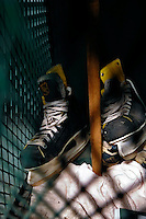 15 February 2008: A pair of University of Vermont Catamount hockey skates rest in a locker prior to a game against the Merrimack College Warriors at Gutterson Fieldhouse in Burlington, Vermont. The Catamounts defeated the Warriors 4-1 in the first game of their 2-game weekend series...Mandatory Photo Credit: Ed Wolfstein Photo