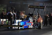 Jun. 15, 2012; Bristol, TN, USA: NHRA top fuel dragster driver Cory McClenathan during qualifying for the Thunder Valley Nationals at Bristol Dragway. Mandatory Credit: Mark J. Rebilas-