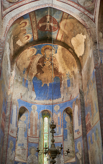 Pictures and images of the historic frescoes of St Nicholas Church interior in the medieval Kintsvisi Monastery Georgian Orthodox Monastery complex, Shida Kartli Region, Georgia (country).