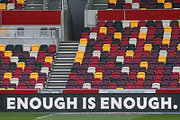 A social media ban from EFL football clubs this weekend as Brentford FC say enough is enough with appropriate signage around the ground during Brentford vs Watford, Sky Bet EFL Championship Football at the Brentford Community Stadium on 1st May 2021