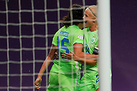 21st August 2020, San Sebastian, Spain;  Ingrid Syrstad Engen  15 Wolfsburg scores a second and celebrarates with Pernille Harder  22 Wolfsburg during the UEFA Womens Champions League football match Quarter Final between Glasgow City and VfL Wolfsburg.