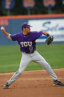 February 22 2009: Taylor Featherston of the TCU Horned Frogs during game against the CSUF Titans at Goodwin Field in Fullerton,CA.  Photo by Larry Goren/Four Seam Images