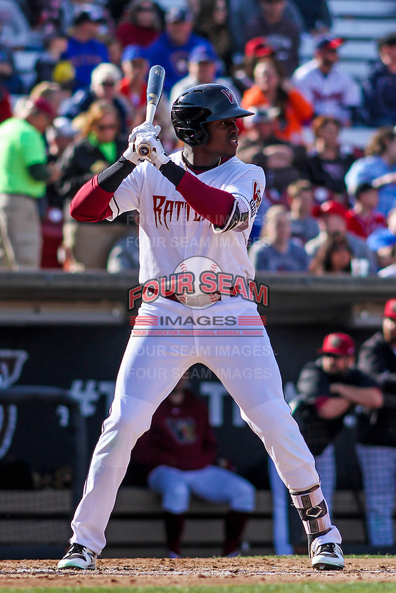 Wisconsin Timber Rattlers outfielder Demi Orimoloye (6) at the plate during a Midwest League game against the Quad Cities River Bandits on April 8, 2017 at Fox Cities Stadium in Appleton, Wisconsin.  Wisconsin defeated Quad Cities 3-2. (Brad Krause/Four Seam Images)