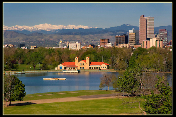 State Capitol seen from City Park with Mount Evans behind, Denver, Colorado, USA.