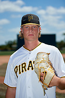 Pittsburgh Pirates pitcher Shane Baz poses for a photo before a Minor League Extended Spring Training game against the Philadelphia Phillies on May 3, 2018 at Pirate City in Bradenton, Florida.  (Mike Janes/Four Seam Images)