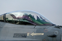 Pilot of Lockheed Martin F-16 Fighting Falcon from Beligan Air Force 349 squadron.  BOLD AVENGER 2007 (BAR 07), a NATO  air exercise at Ørland Main Air Station, Norway. BAR 07 involved air forces from 13 NATO member nations: Belgium, Canada, the Czech Republic, France, Germany, Greece, Norway, Poland, Romania, Spain, Turkey, the United Kingdom and the United States of America. The exercise was designed to provide training for units in tactical air operations, involving over 100 aircraft, including combat, tanker and airborne early warning aircraft and about 1,450 personnel.