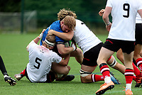 Saturday 5th September 2021<br /> <br /> Ronan Foxe is tackled by Charlie Irvine 5 and Adam Warren 7 during U19 inter-pro between Ulster Rugby and Leinster at Newforge Country Club, Belfast, Northern Ireland. Photo by John Dickson/Dicksondigital
